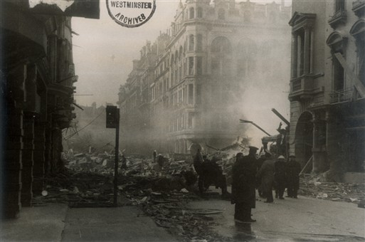 Photo:HE Bomb Damage to King Steet, St James's, 24 Feburary, 1944